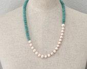 Asymmetrical Genuine Pearl & Amazonite Necklace