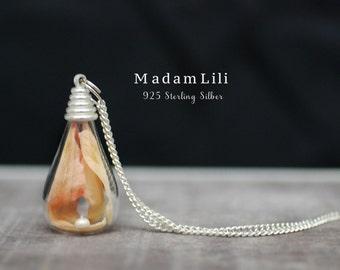 925 Sterling Silver Echte Delphinium Leaves Necklace