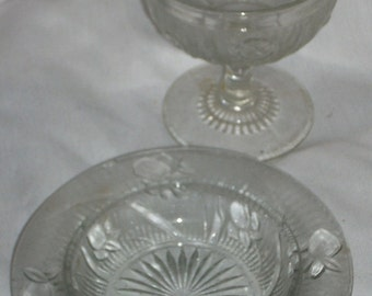Jeannette Glass Iris and Herringbone Tall Sherbet and Butter Dish Bottom