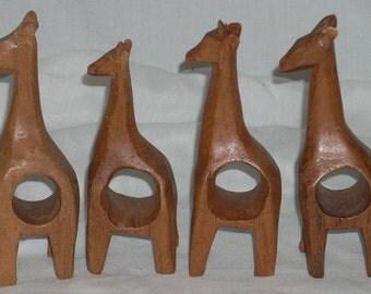 4 Teak Giraffe Napkin Rings