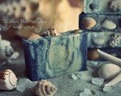 Ocean Memories Soap-scrub. With Ocean water, Beach sand, Blue Clay, Sea shells, Indigo. Scrub for rough areas, foot polish.