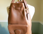 Coach Brown Leather Backpack  /  Sling Backpack / Drawstring Purse