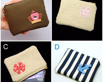 BIG SALE - Small zipper pouch / coin purse /ear phone bag/ card holder (padded) (GP11)