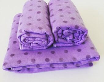 Blanket and Burp Cloth Set - Purple polka dot - FREE SHIPPING in USA