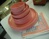 "16 Pieces Vintage Pink ""Catalina"" Melmac by Harmony House of Sears"