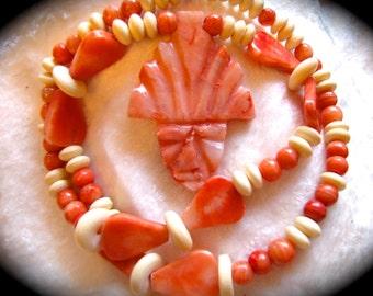 Vintage Tribal Onyx Mayan Aztec Mask Beaded Necklace - Mexican Orange Onyz Tribal Mask & Bone Necklace
