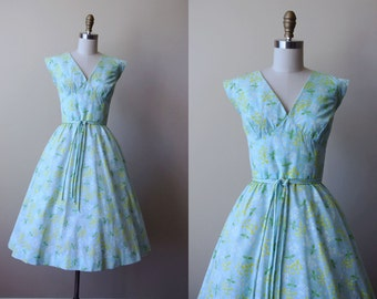 50s Dress - Vintage 1950s Dress - Delphite Blue Apple Green Chartreuse Floral Print Bust Shelf Cotton Sundress M - Lost Lagoon Dress