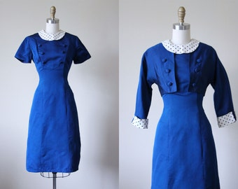 1950s Dress - Vintage 50s Dress - Cobalt Silk Polka Dots Hourglass Dress w Bolero Jacket S M - Blue Note Dress