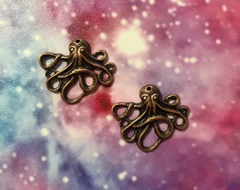 Antique Copper Octopus Charms, set of 4.