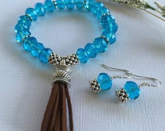 Bracelet-Tassel Stretch Bracelet-Short Tassel on Sky Blue Chinese Crystal Stretch Bracelet-Boho Stretch Bracelet-Boho Jewelry-Suede Tassel