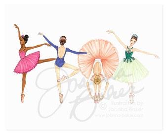 Ballerina Besties Fashion Illustration Art Print