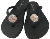Custom design your own baseball bling flip flops for ladies & girls