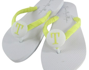 Wedding Flip Flops in White and Maize Yellow for Bride, Bridesmaids, bridal Party, flower girls. All sizes for ladies and girls.