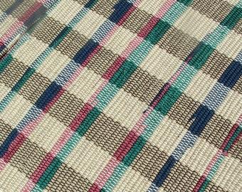 Hygge, Chindi, Woven Rug, handmade, khaki, navy blue, green, recycled fabric, rag rug, bath mat, shower rug, throw rug, 36 x 22 inches
