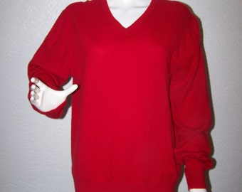Mens Cashmere Sweater Red Size Medium by Alan Flusser Vintage 80s 90s Pure 2 Ply Cashmere Womens Unisex Soft Knit Pullover Fathers Day Sale