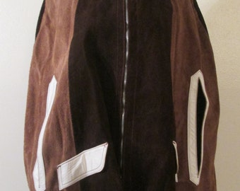 60s Hippie Bohemian Brown and Tan Color Block Suede with White Leather Trim and Collar Zip Front Poncho