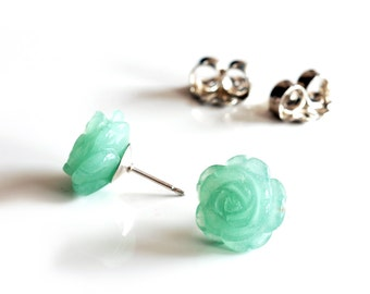 Green gemstone rose studs with solid sterling posts ,  rose earrings with 12mm carved aventrine flower gemstones , green flower studs