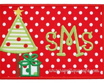 891 Christmas Tree Patch 3 Machine Embroidery Applique Design