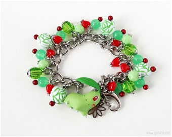 Pokemon Charm Bracelet, Chicorita Figure, Green, Red, Stainless Steel Chain, OOAK, Gamer Gifts, Gamer Girl