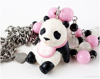 Panda Necklace, Baby Panda Figurine, Pink, White, Black, Sweet Lolita, Kawaii Necklace, Kawaii Jewelry, Harajuku Fashion