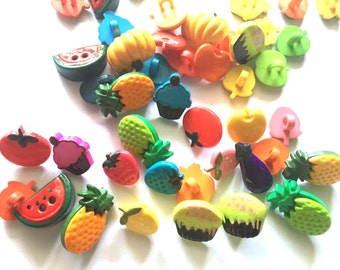 30 pcs Mix cute assorted fruits shank buttons and 2 holes fruits buttons