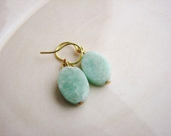 Mint Green Earrings Amazonite Earrings Simple Stone Earrings Delicate Boho Jewelry Minimalist Green Earrings Natural Stone Earrings