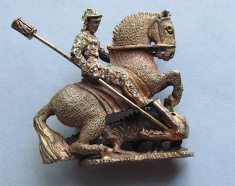 Saint George And The Dragon Brooch By DeNicola Dragon Slayer Vintage Pin Jewelry