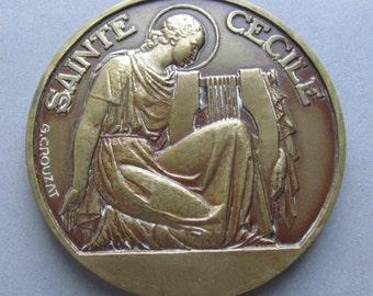 Antique Religious Art Medal French Sainte Cecile/ Patron Saint Of Musicians Signed G. Crouzat