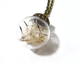 Make a wish dandelion seed glass globe necklace