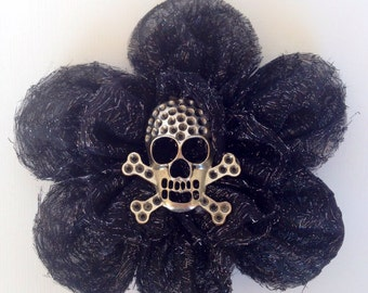 Belly Dance Hair Flower, Skull, Hair Clip, Barrette, Hair Accessory, Hairpiece, Hat Clip, Gift, Costume, Boho, Gypsy, ATS