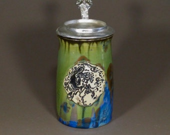 Totally Handcrafted Crystalline Glazed Green Blue Brown Art Nouveau Beautiful Goddess Stamped Porcelain Hand Cast Pewter Lidded Beer Stein