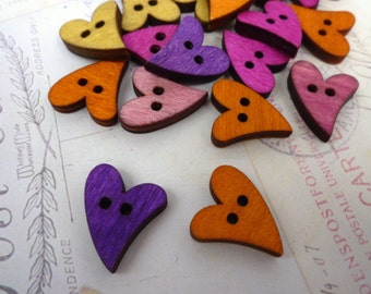 Wooden Buttons - Heart Shaped Coloured Wooden Buttons - Pack of 10 - Curly Heart Buttons