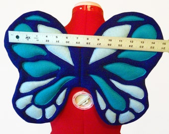 Tiny Butterfly Wings. 3 Blue. Toddler, Baby Fairy Monarch. Felt, No Wire. Original Design.