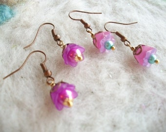 Tiny Earrings, Lucite Flowers, Pixie Flower Earrings, 2 Pair