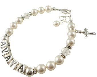 Baptism Bracelet with name, sterling silver and Swarovski pearls for girls and baby