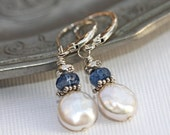 Pearl and Blue Kyanite earrings in sterling