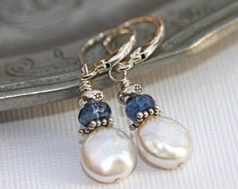 Pearl and Blue Kyanite earrings in sterling