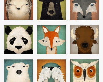 YOU CHOOSE Hedgehog Panda Fox Wolf Black Bear Owl Walrus Polar Bear Bison Graphic Illustration Stretched Canvas Wall Art signed