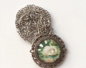 Lovely Swan /  Crow Photo Pendant Necklace