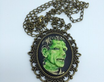 Hand Painted Frankenstein's Monster  Cameo Pendant Necklace