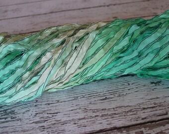 NeW Hand Dyed Ribbon - SPRING MIST dark shimmer edge ribbon, 5 yards
