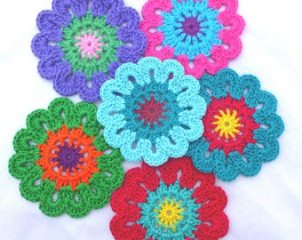 Crochet Colourful Flowers Doilies Home decor Table decoration Coasters-set of 6 (No.9)