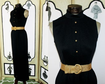 Sultry Vintage 1960's Black Column Dress with Rich Gold Buttons and Woven Metallic Belt. Small.