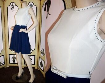 60's Nautical Navy and White Aline Summer Dress. Small.