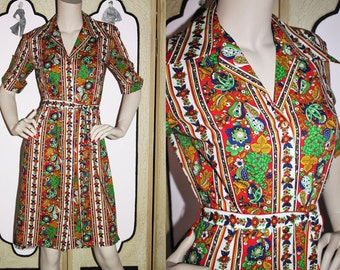 70's Fruit Novelty Print Shirt Dress from Shiftery by Lady Arrow. Small.