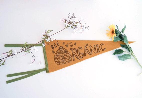 Bee Organic Pennant Flag