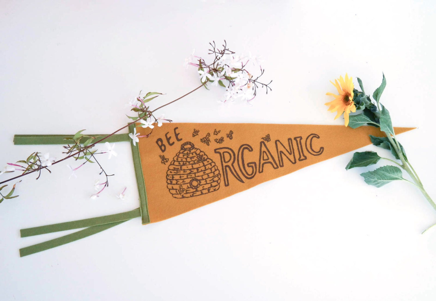 Felt pennant: Bee Organic available on Etsy | by Kate Wong stripedcatstudio.com