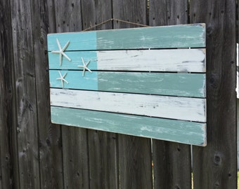 Beach Coastal Starfish Large Pallet Flag