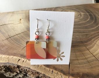 Recycled Starbucks gift card earrings.