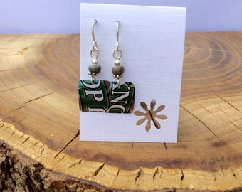 Hop Knot recycled beer can earrings